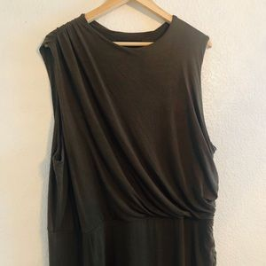 Eloquii Olive Green Sleeveless Side Ruched Dress